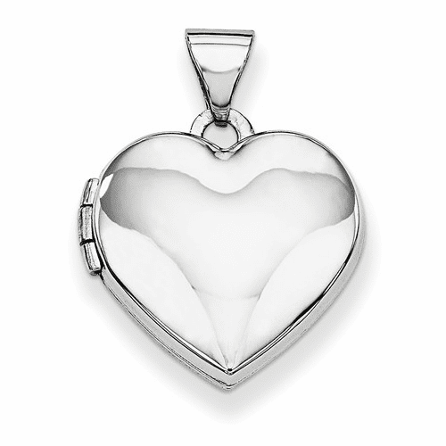 14k White Gold Polished Heart-shaped Locket Xl305