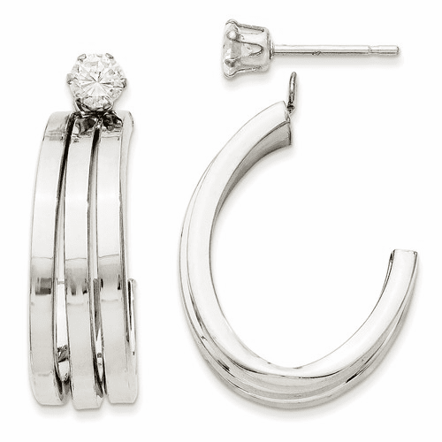 14k White Gold Polished J Hoop With 4mm Cz Stud Earring Jackets Ye1488