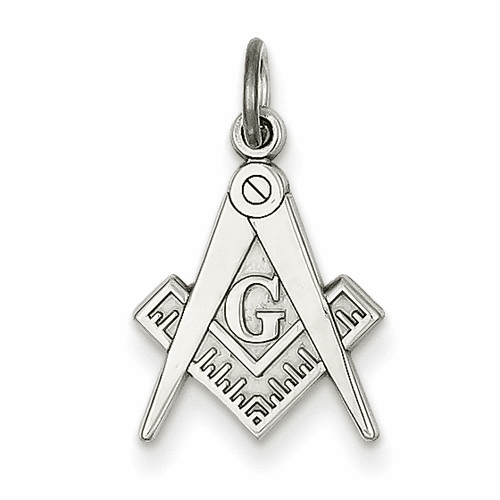14k White Gold Polished Masonic Charm D1250