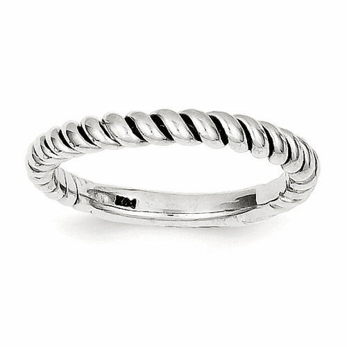 14k White Gold Polished Twisted Band K590