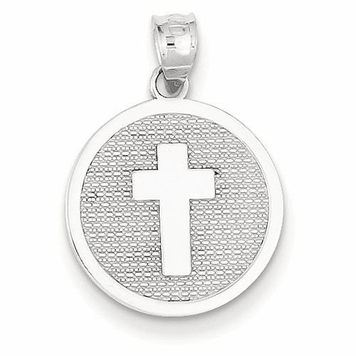 14k White Gold Reversible Cross & 1st Holy Communion Charm