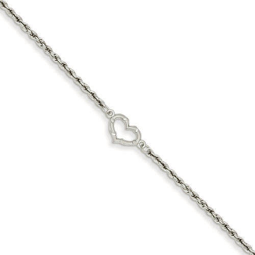 14k White Gold Rope With Heart Anklet Ank153-10
