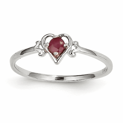 14k White Gold Ruby Birthstone Heart Ring Yc418