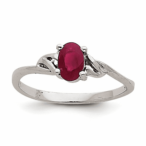 14k White Gold Ruby Birthstone Ring Xbr148