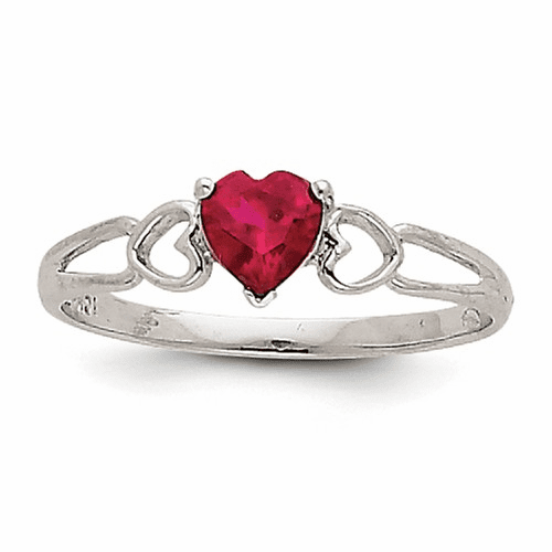 14k White Gold Ruby Birthstone Ring Xbr172