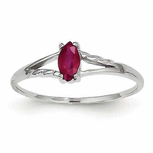 14k White Gold Ruby Birthstone Ring Xbr196