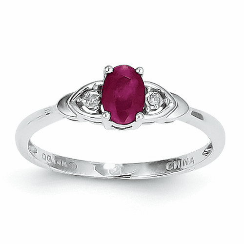 14k White Gold Ruby Diamond Ring Xbs234