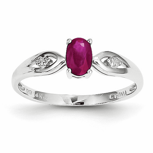 14k White Gold Ruby Diamond Ring Xbs306