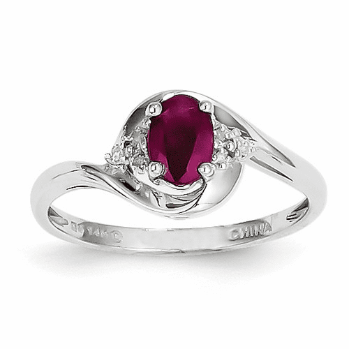 14k White Gold Ruby Diamond Ring Xbs378