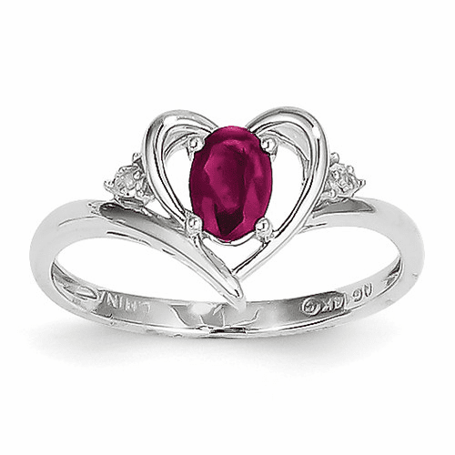 14k White Gold Ruby Diamond Ring Xbs450