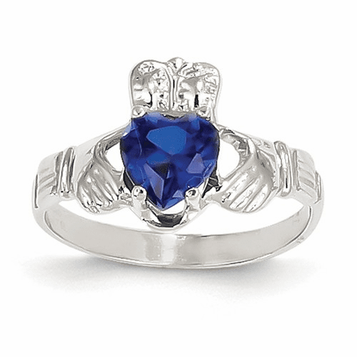 14k White Gold September Birthstone Claddagh Ring R507