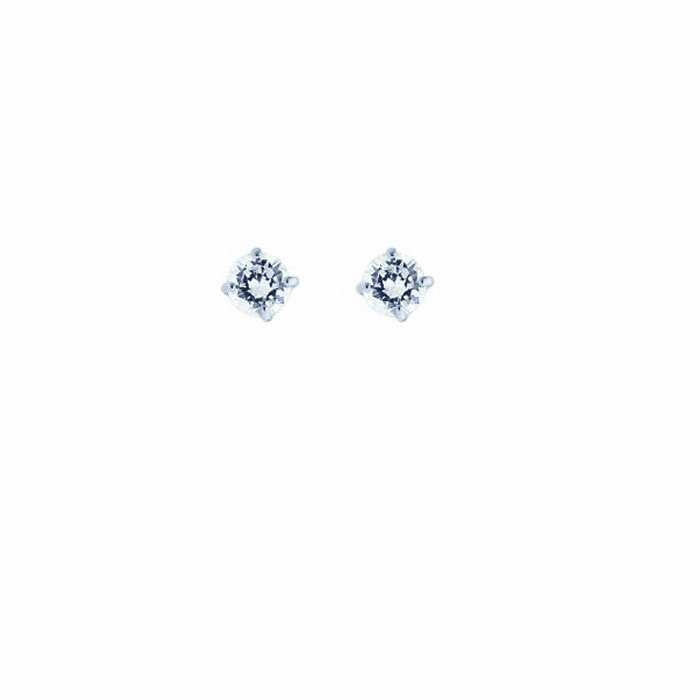 14K White Gold Shiny 4.0mm Round Faceted White CZ Stud Earring