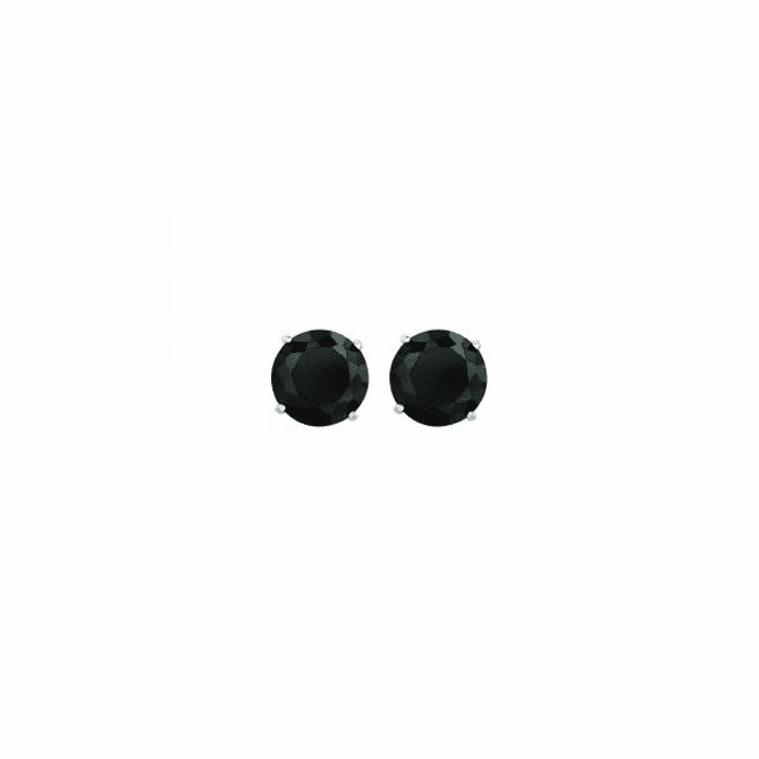 14K White Gold Shiny 6.0mm Round Faceted Black CZ Stud Earring