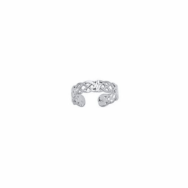 14K White Gold Shiny Cuff Type Toe Ring with Pattern