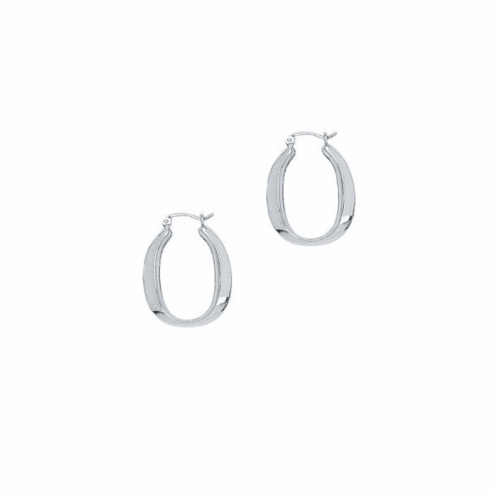 14K White Gold Shiny Oval Shape Symbolic Hoop Earring