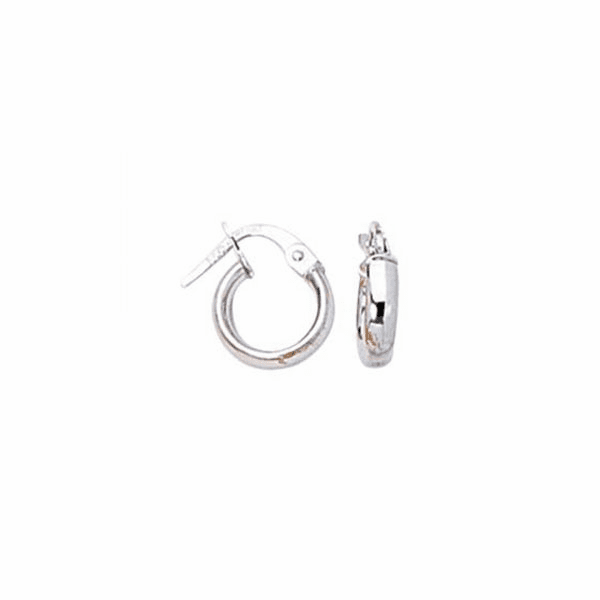 14K White Gold Shiny Round Hoop Earring with Hinged Clasp