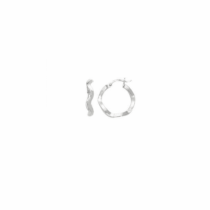 14K White Gold Shiny Round Twisted Hoop Earring with Hinged Clasp