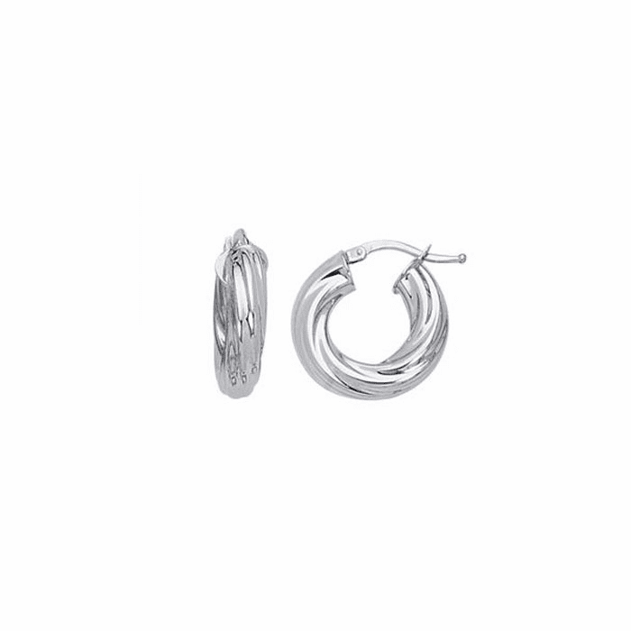 14K White Gold Shiny Small Twisted Hoop Earring with Hinged Clasp