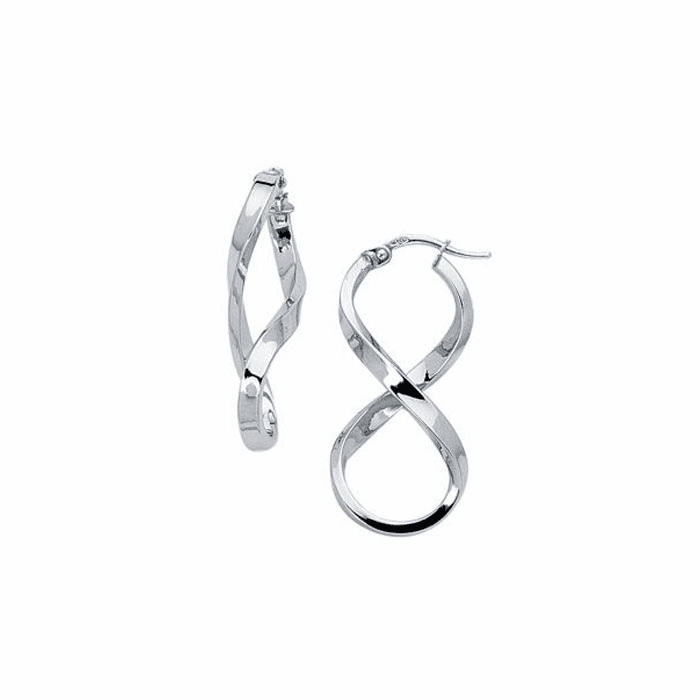14K White Gold Shiny Twisted Oval Shape Freeform Hoop Earring