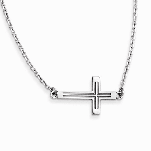 14k White Gold Sideways Cut-out Cross Necklace Sf2095-19