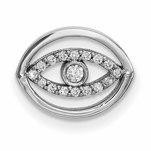 14k White Gold Small Diamond  Gold Halo Evil Eye Pendant Xp5034wa