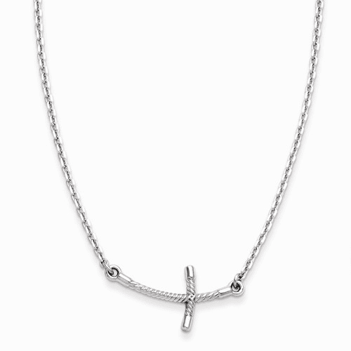 14k White Gold Small Sideways Curved Twist Cross Necklace Sf2087-19
