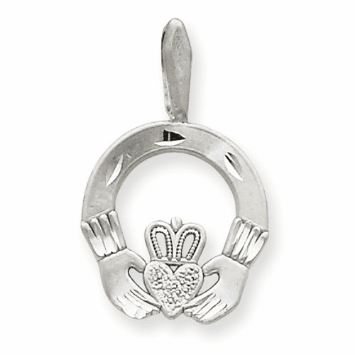 14k White Gold Solid D/c Claddagh Pendant M2704