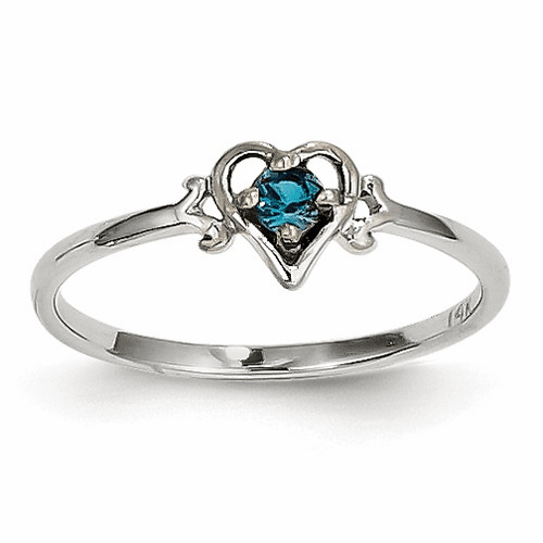 14k White Gold Synthetic Alexandrite Birthstone Heart Ring Yc417