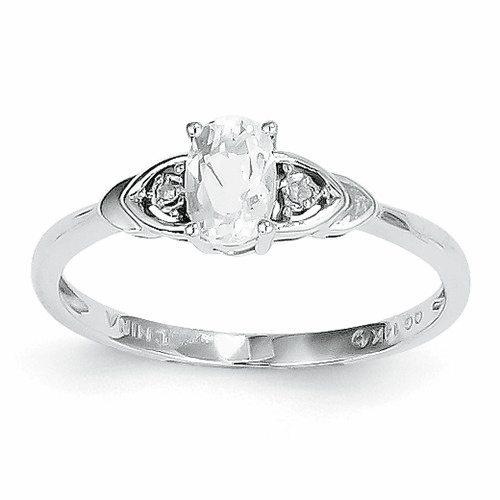 14k White Gold White Topaz Diamond Ring Xbs231