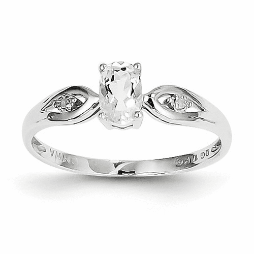 14k White Gold White Topaz Diamond Ring Xbs303