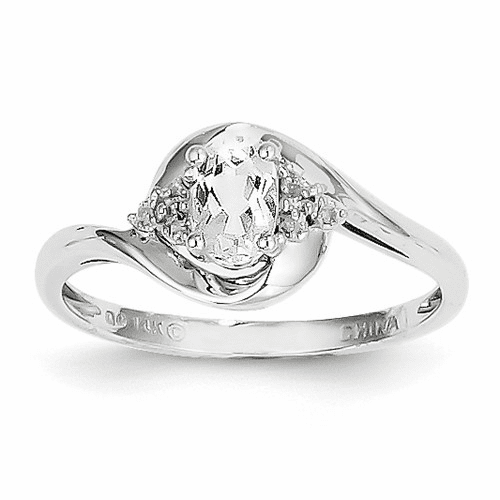 14k White Gold White Topaz Diamond Ring Xbs375