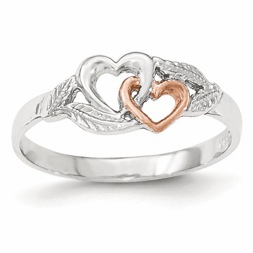 14k White & Rose Gold-plated Polished Cut-out Double Heart Ring K5751