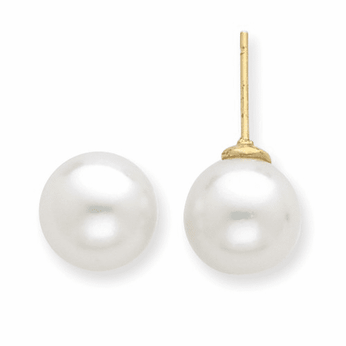 14k White Saltwater Cultured South Sea Pearl Post Earrings Xf332e