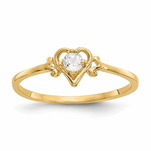 14k White Topaz Birthstone Heart Ring Yc427