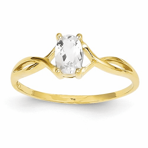 14k White Topaz Birthstone Ring Xbr229