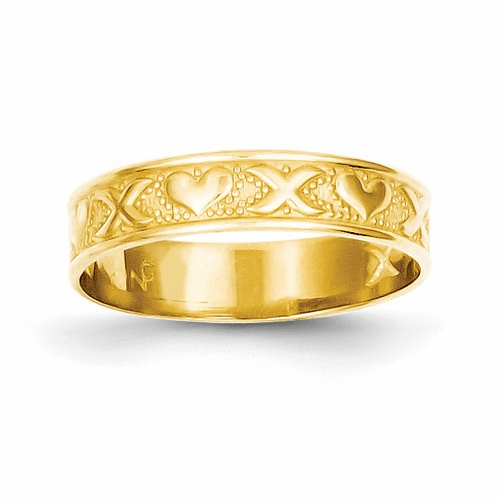 14k X And Heart Embossed Ring K4578