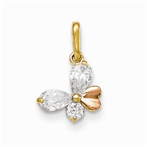 14k Yellow And Rose Gold Cz Children's Butterfly Pendant Yc1158