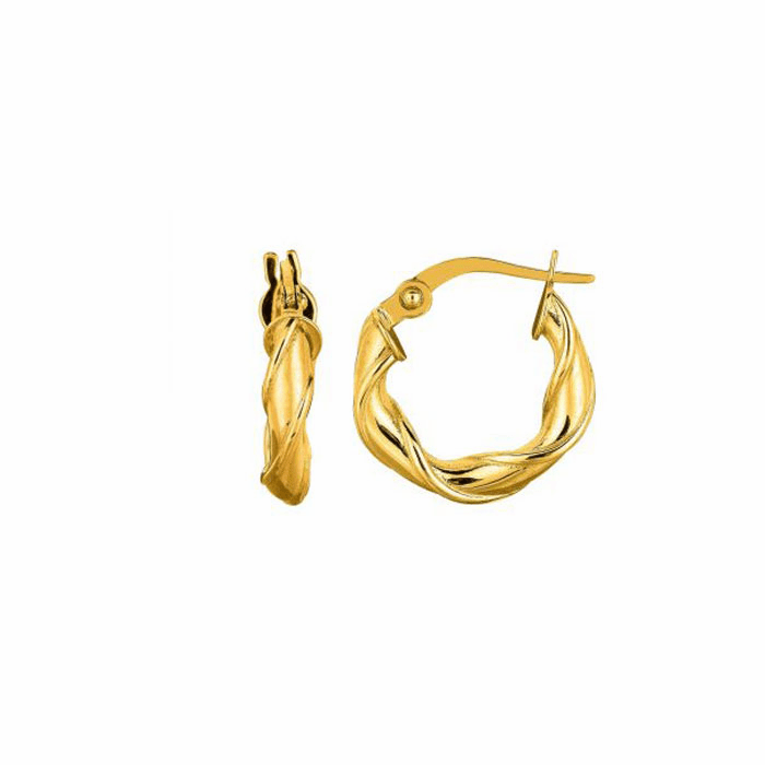 14K Yellow Gold 10mm Round Type Twisted Hoop Earring with Hinged Clasp