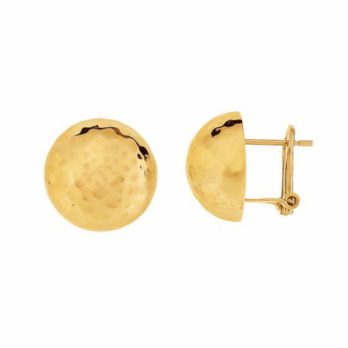 14K Yellow Gold 15mm Shiny/Hammered Semi Round Half Ball Fancy Earring