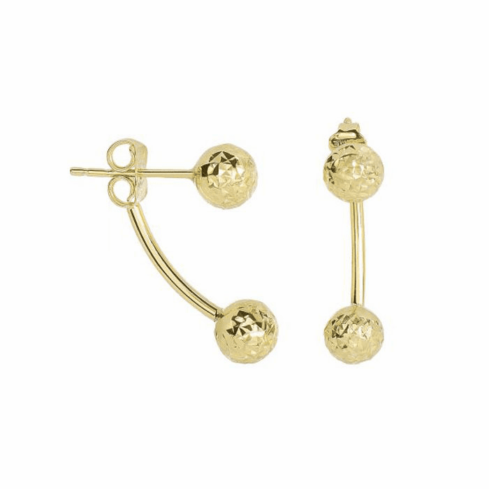 14K Yellow Gold 19.4X5.9mm / Diamond Cut Belly Ring Style Post Earring