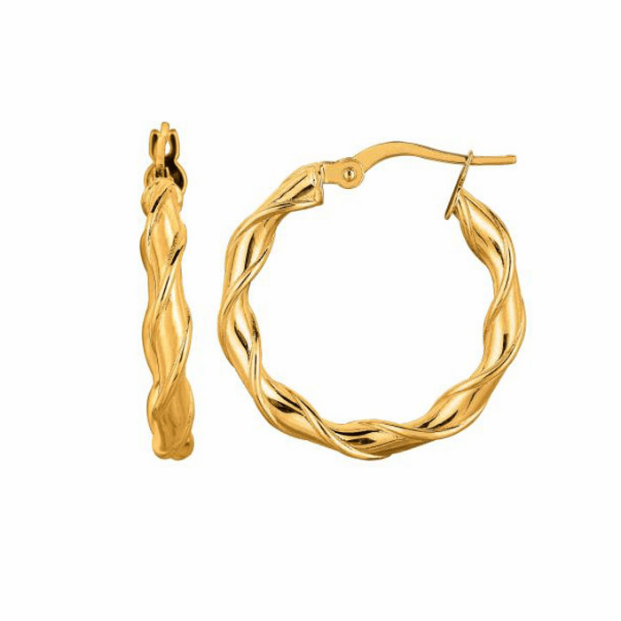 14K Yellow Gold 20mm Round Type Twisted Hoop Earring with Hinged Clasp