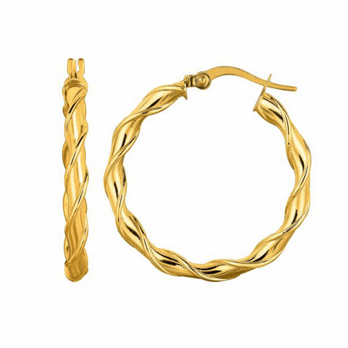 14K Yellow Gold 25mm Round Type Twisted Hoop Earring with Hinged Clasp