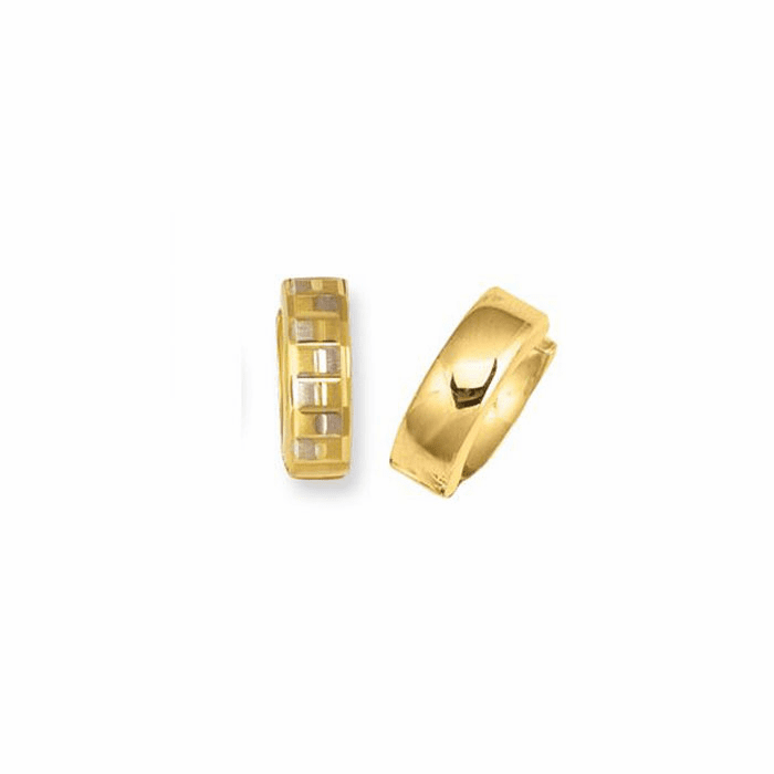14K Yellow Gold 4.0mm Textured Snuggable Earring with Square Pattern