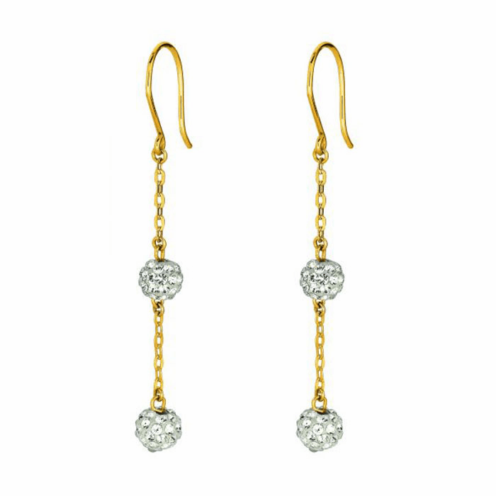 14K Yellow Gold Cable Chain Link with White Crystal Ball Drop Earring