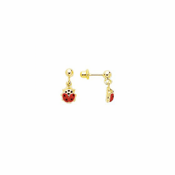 14K Yellow Gold Chain Link with Red Ladybug Drop Earring