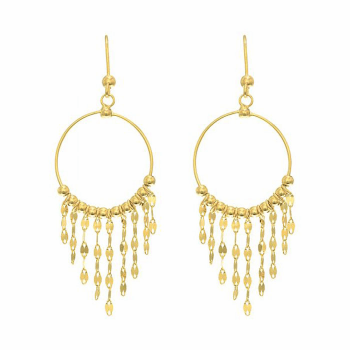 14K Yellow Gold Fringe Pattern/French Wire Clasp Chandelier Earring