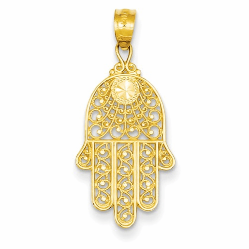 14k Yellow Gold Hand Of God Pendant Xr1398