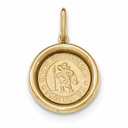 14k Yellow Gold Polished And Satin St Christopher Medal Pendant K5662