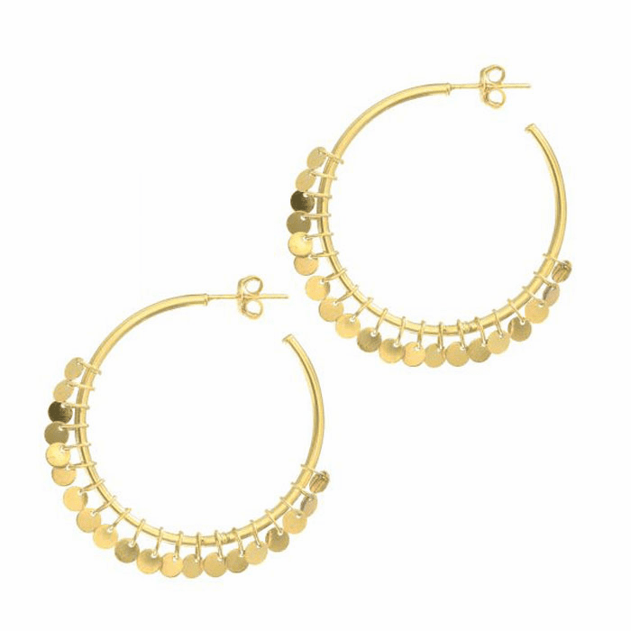 14K Yellow Gold Round Tube Hoop Small Multi Dangle Earring On Post