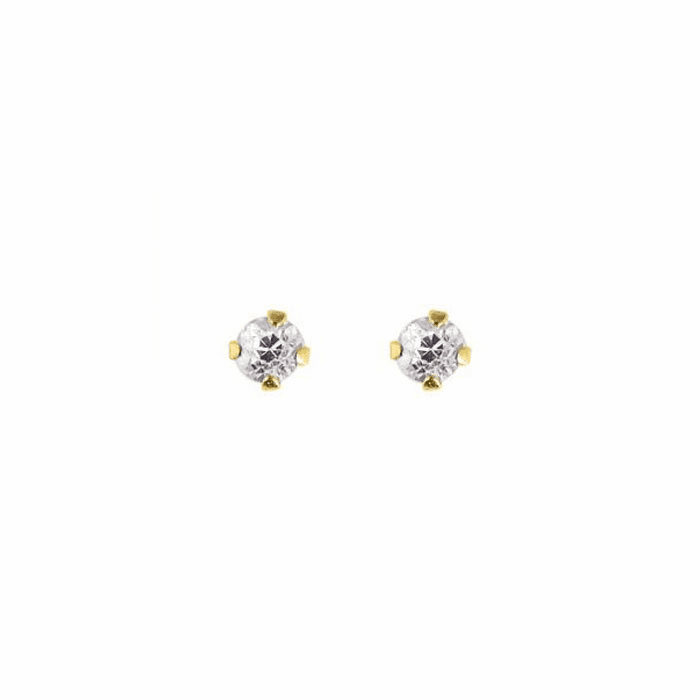 14K Yellow Gold Shiny 2.0mm Round Faceted White CZ Stud Earring